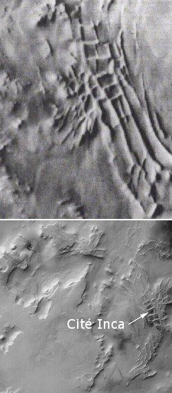 La Cité Inca (images Mariner 9 et Mars Global Surveyor)
