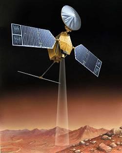 Dessin d'artiste de l'orbiteur de reconnaissance martien (MRO), qui devrait être lancé par la NASA en août 2005. Equipé d'une caméra cinq fois plus puissante que celle de Mars Global Surveyor, MRO fournira des vues de la surface martienne d'une incroyable précision